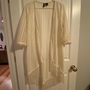 Cream Top Layer Blouse with Tassel Ends